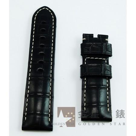 原廠沛納海 鱷魚皮錶帶 黑(車白線)