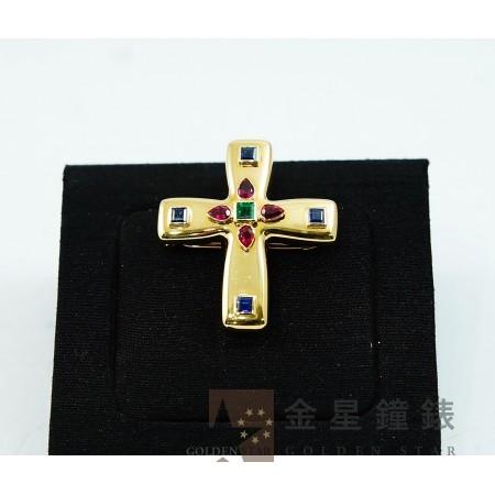 Cartier 卡地亞 寶石十字架 18K黃金胸章